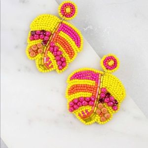 Palm Leave Seed Bead Post Earrings Yellow Pink
